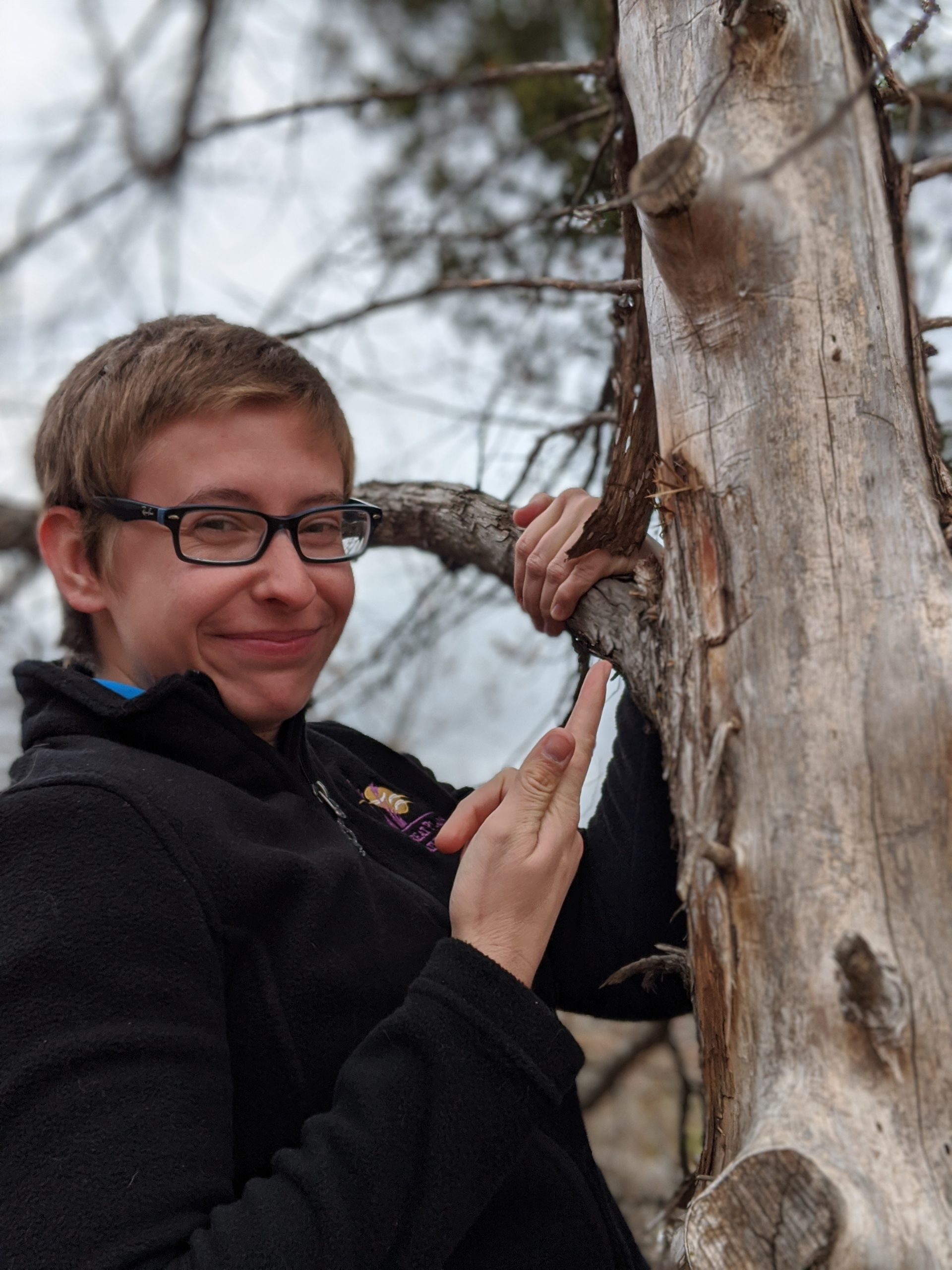 Nicole showing off a beetle gallery on a dead tree.