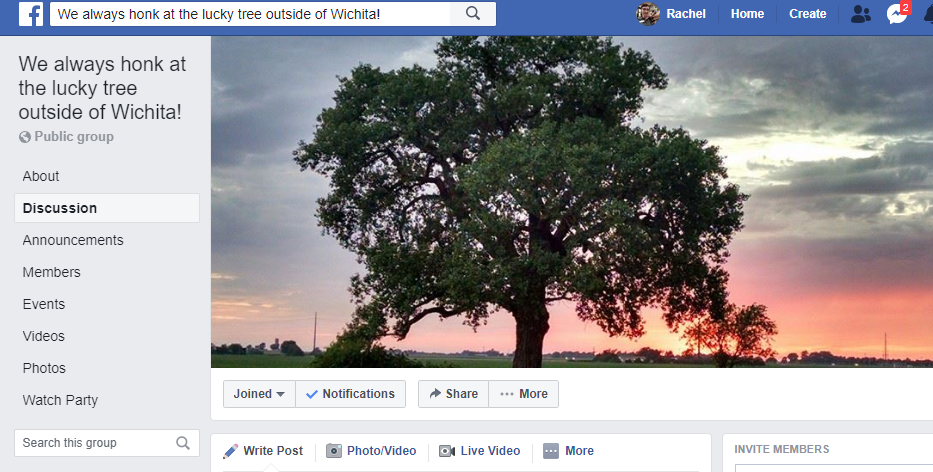 Screenshot of the Lucky Tree's facebook group, with a cover image of the tree in summer.